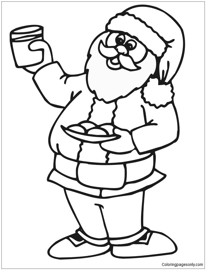 Santa Loves His Milk And Cookies On Christmas Eve Coloring Page ...