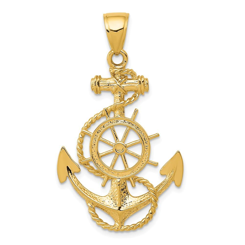 14k Yellow Gold Gold Polished Anchor w//rope Pendant