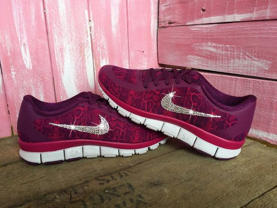 Blinged Nike Free 5.0 V4 Running Shoes Burgundy by ShopPinkIvy ... ee2d9d0f9f