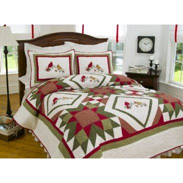 An extremely elegant embroidered design, our Cardinal Redwood ... : cardinal quilt - Adamdwight.com