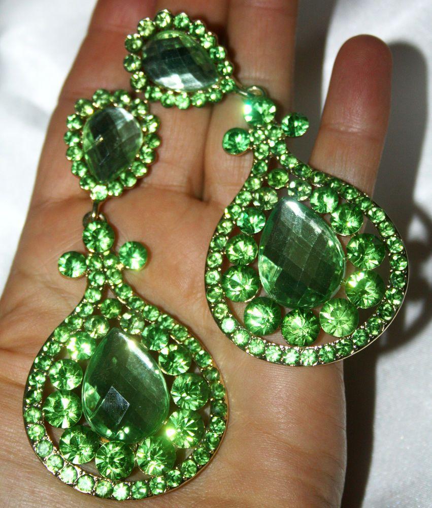 Chandelier Clip Earrings Rhinestone Drag Pageant Austrian Crystal Green 38  Inch