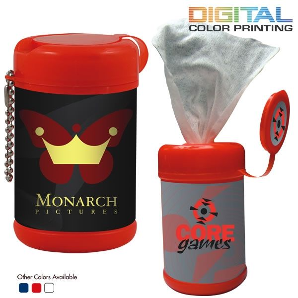 Promotional Antibacterial Wet Wipes In Canister Customized Hand
