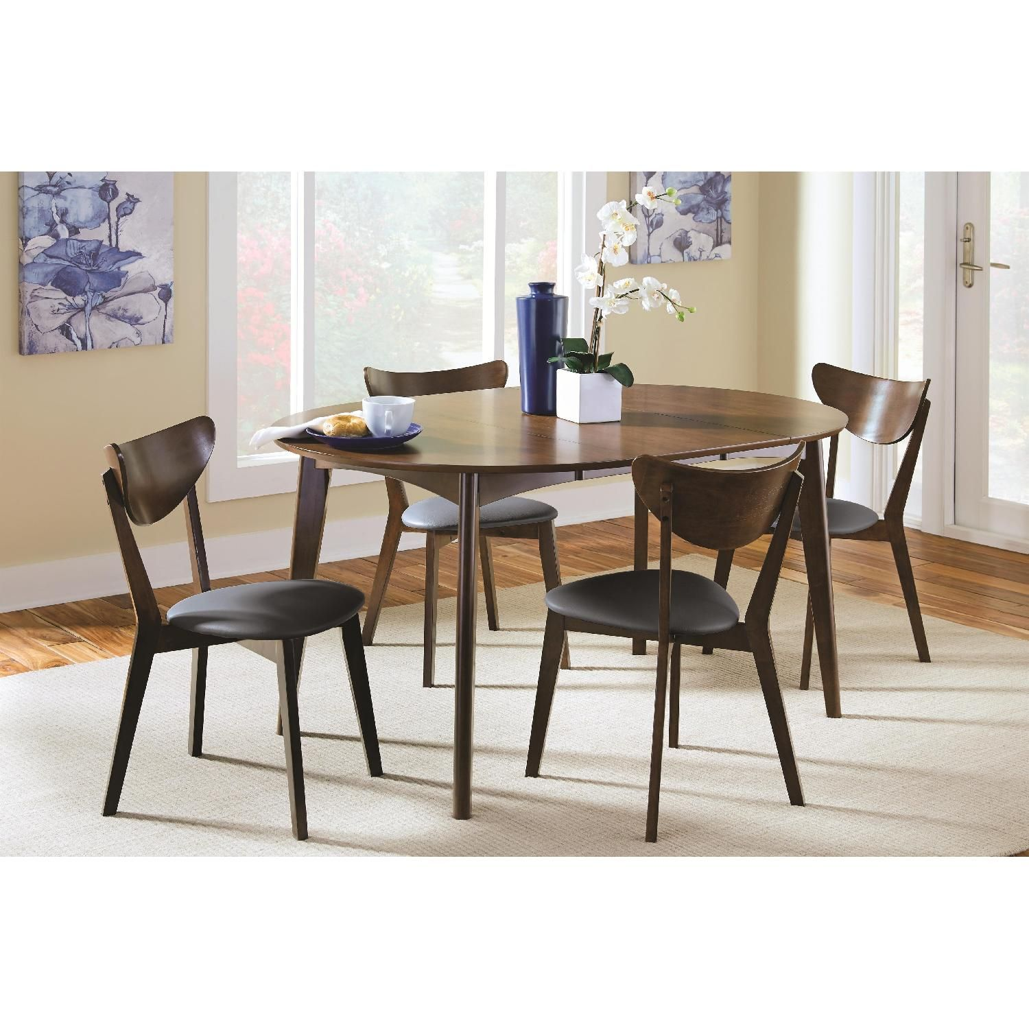 Modern Mid-century Style Expandable Solid Wood Dining ...
