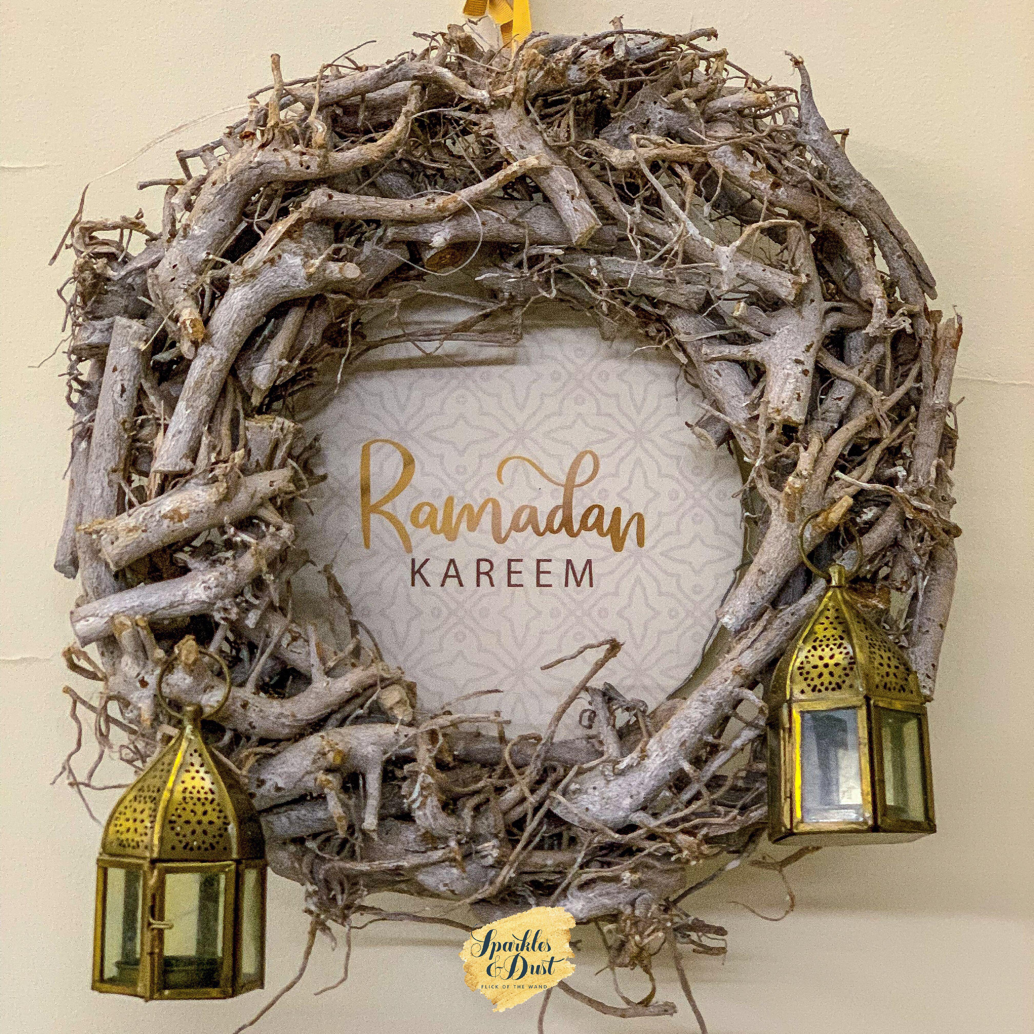 Home Door Hanger Ramadan Sparkles Dust زينة رمضان Ramadan Grapevine Wreath Home Doors