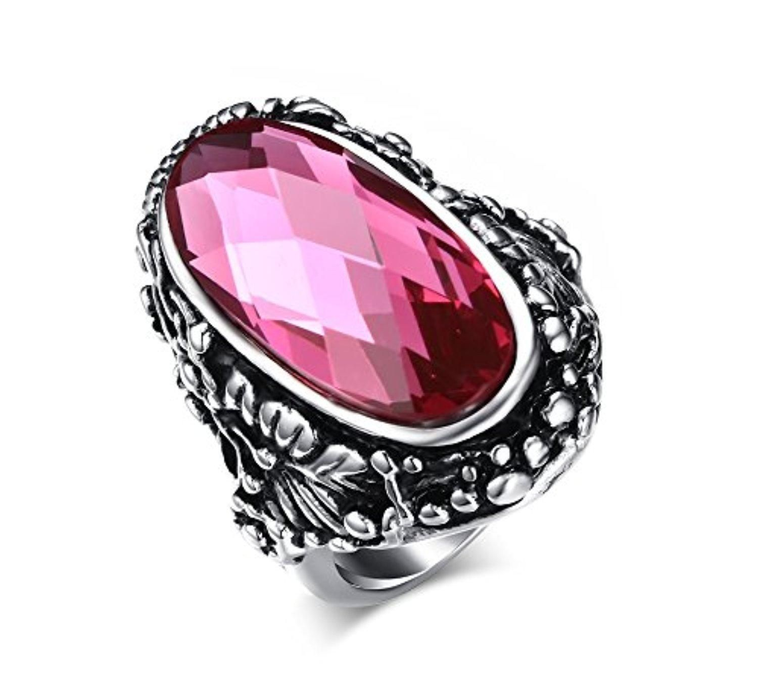 Stainless Steel Vintage Pink Oval Glass Crystal Ring for Womens Mens ...