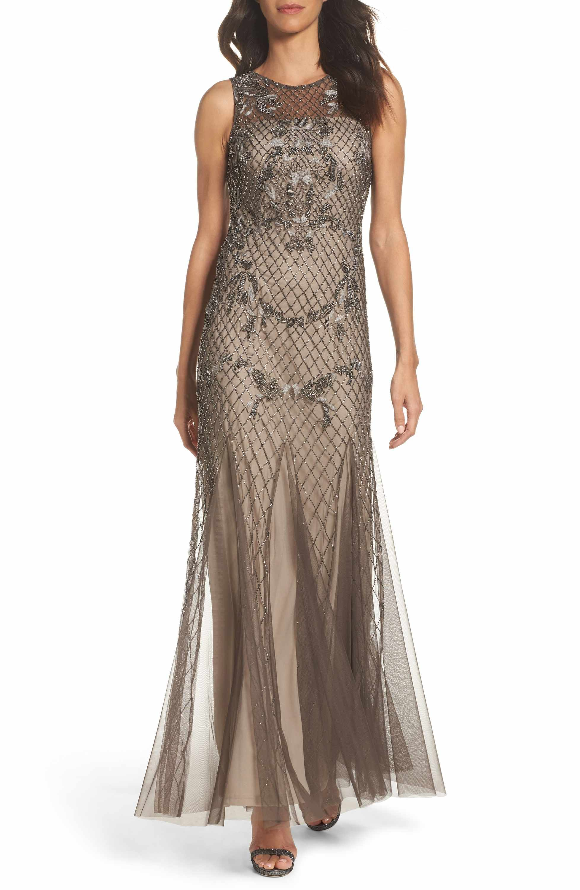 Beaded Mesh Gown | Adrianna papell, Gowns and Beads