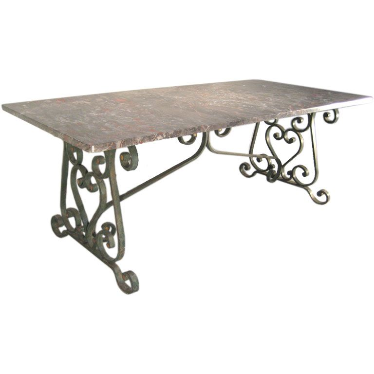 1900 S French Wrought Iron Base With Marble Top Dining Table