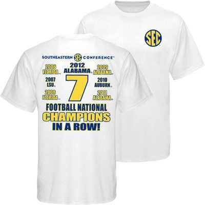SEC Football 7-Time BCS National Champions In a Row T-Shirt