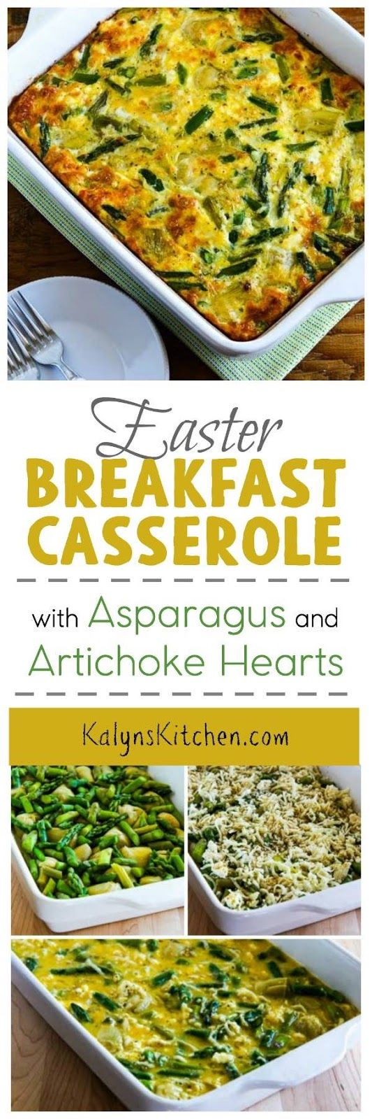 This Easter Breakfast Casserole with Asparagus and Artichoke Hearts is perfect for a brunch that's healthy but uses special ingredients. And this delicious breakfast is low-carb, Keto, low-glycemic, gluten-free, and South Beach Diet friendly. [found on KalynsKitchen.com] #BreakfastCasserole  #EasterBreakfastCasserole #BreakfastCasseroleAsparagus #BreakfastCasseroleArtichokeHearts