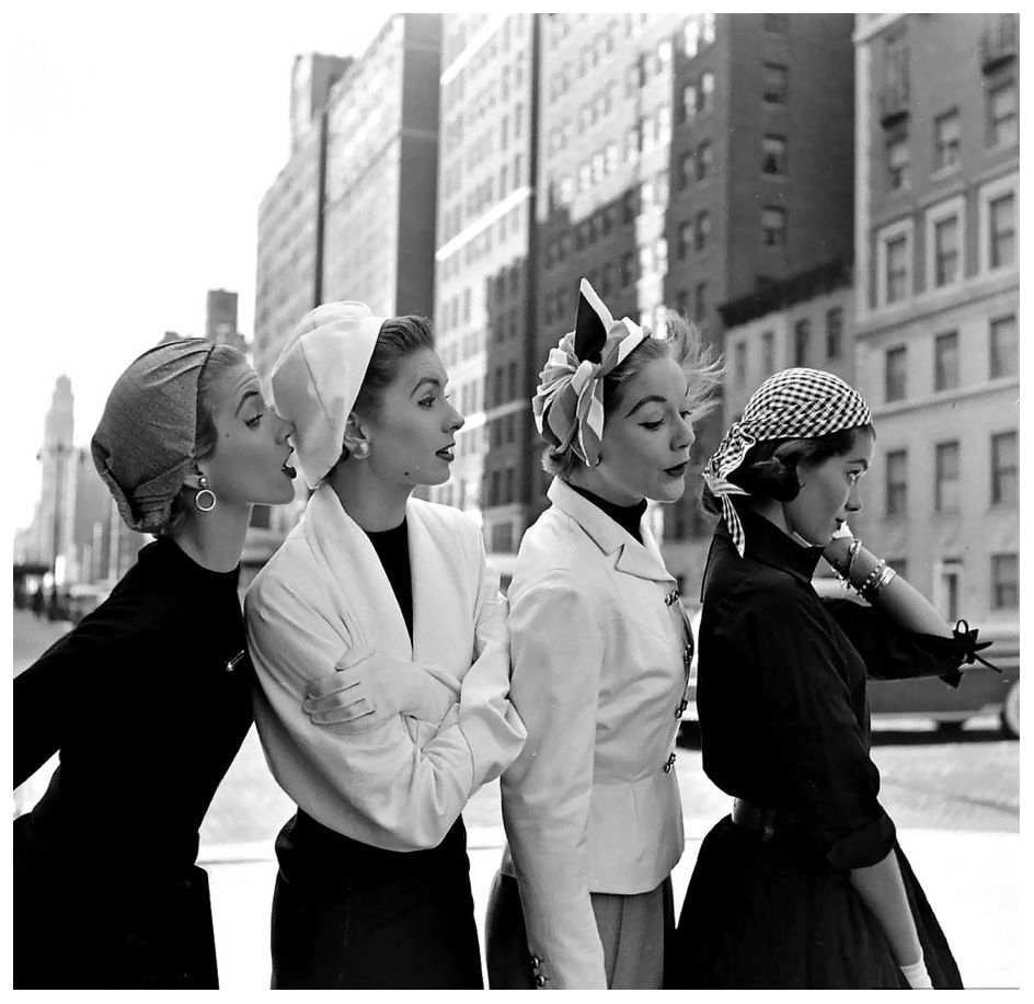 Models (Suzy Parker 2nd fr.left) wearing colorful %22bandana%22 caps, photo by Gordon Parks, New York City, March 1952