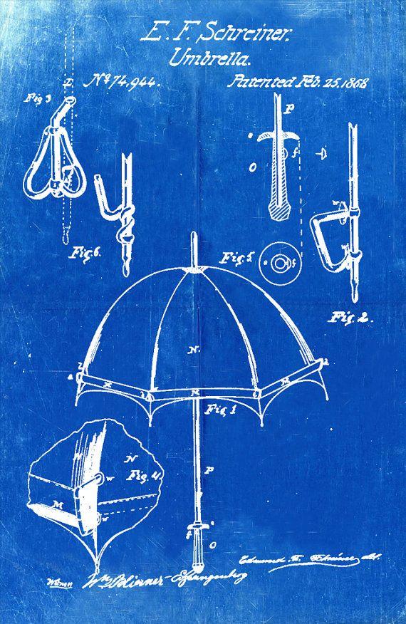 Blueprint art of patent umbrella 1868 technical by bigbluecanoe blueprint art of patent umbrella 1868 technical by bigbluecanoe malvernweather Image collections