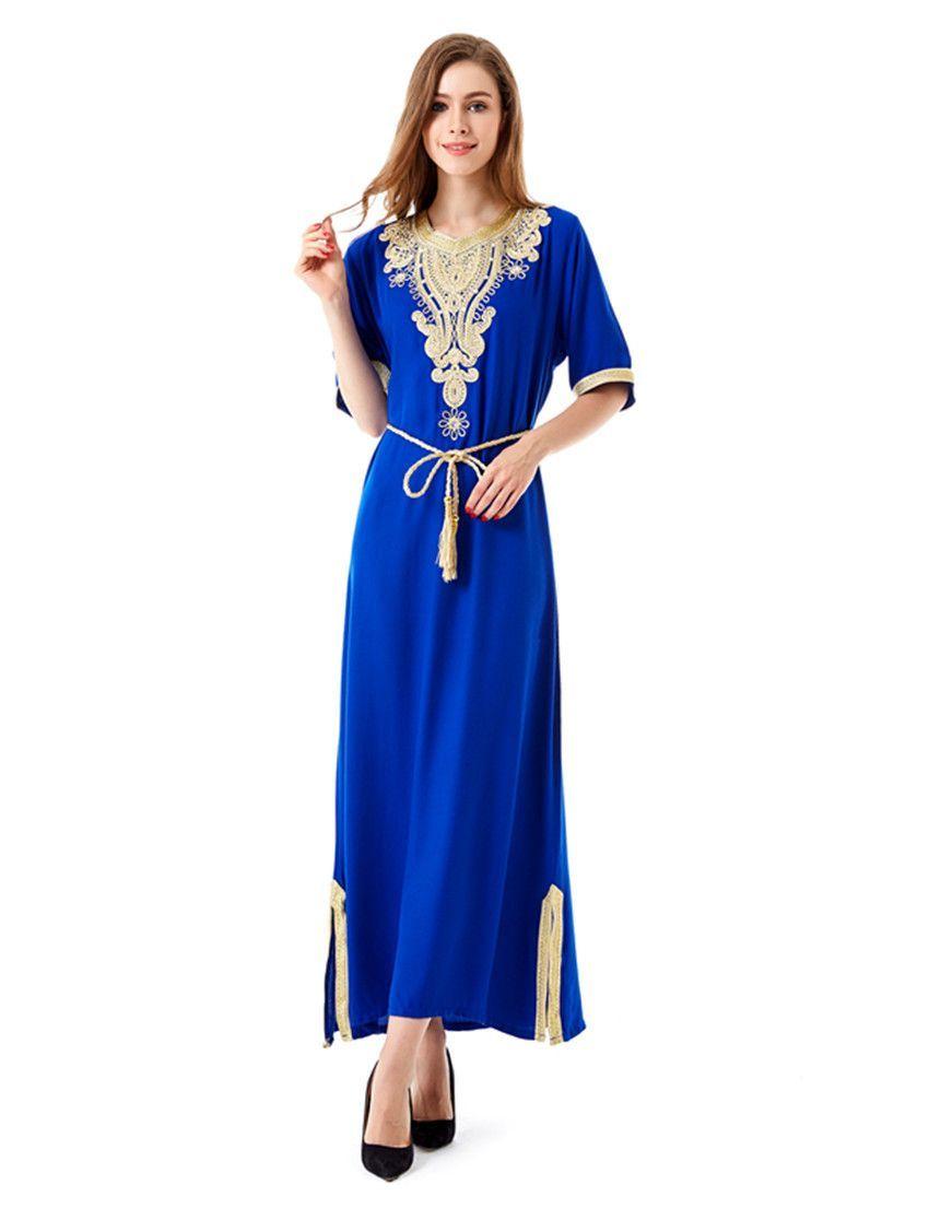546daed2d32 Muslim women Long sleeve Dubai Dress maxi abaya jalabiya islamic women dress  clothing robe kaftan Moroccan fashion embroidey1605