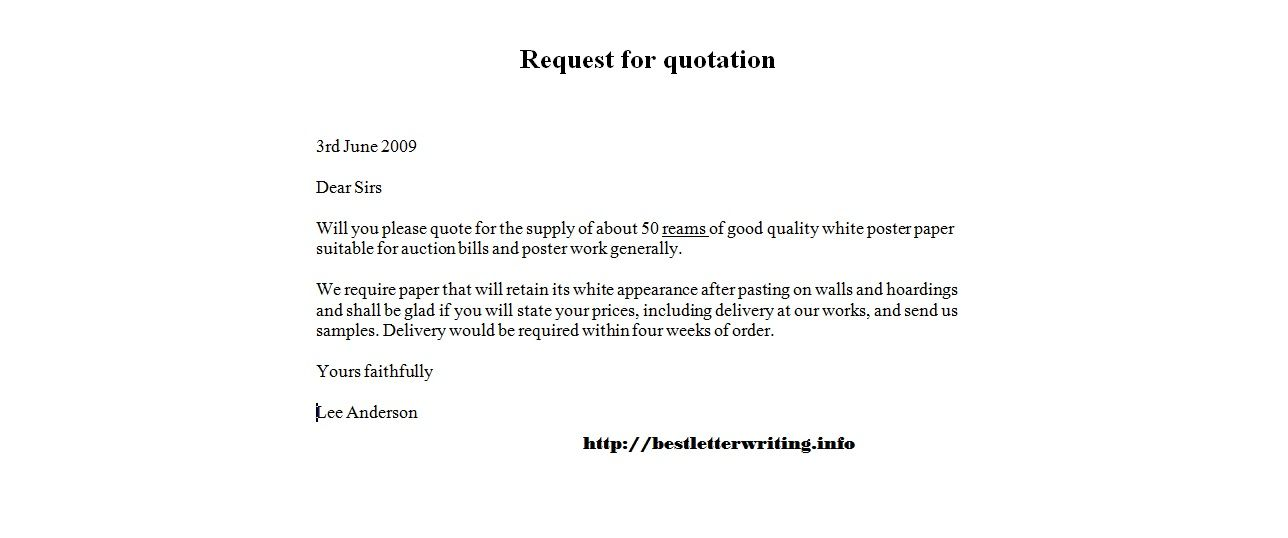 request for quotation examplebusiness letter examples business - price quotation