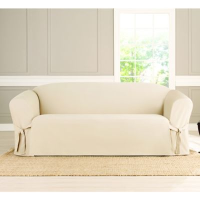 Sure Fit Heavyweight Box Seat Sofa Cover In Natural Slipcovered