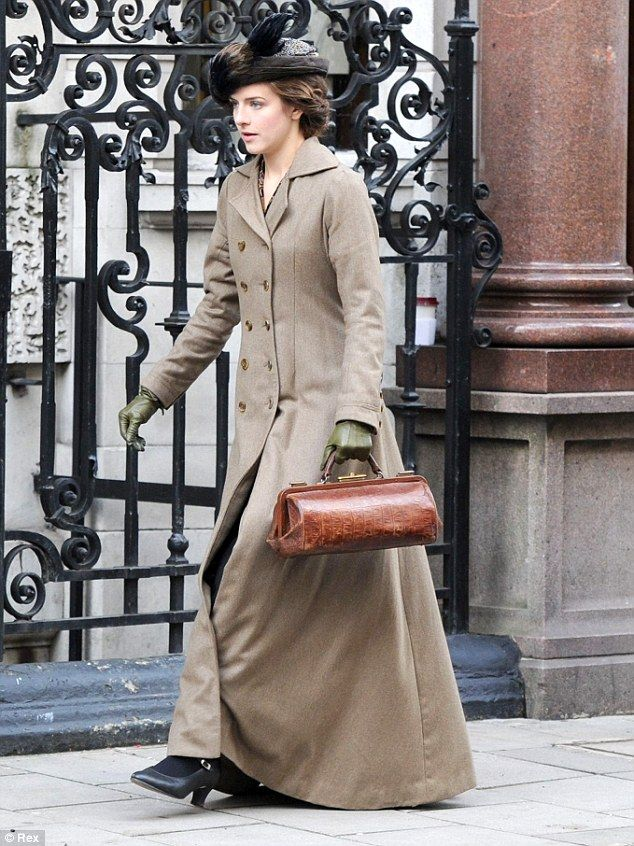 Aisling Loftus was back in her Edwardian costume for filming of the second series of period drama Mr. Selfridge