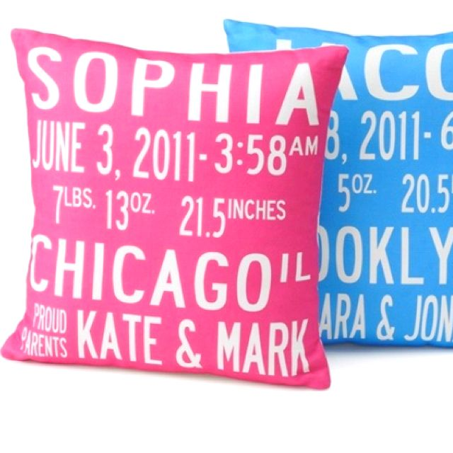 birth announcement pillows. I definitely will be getting these one day!