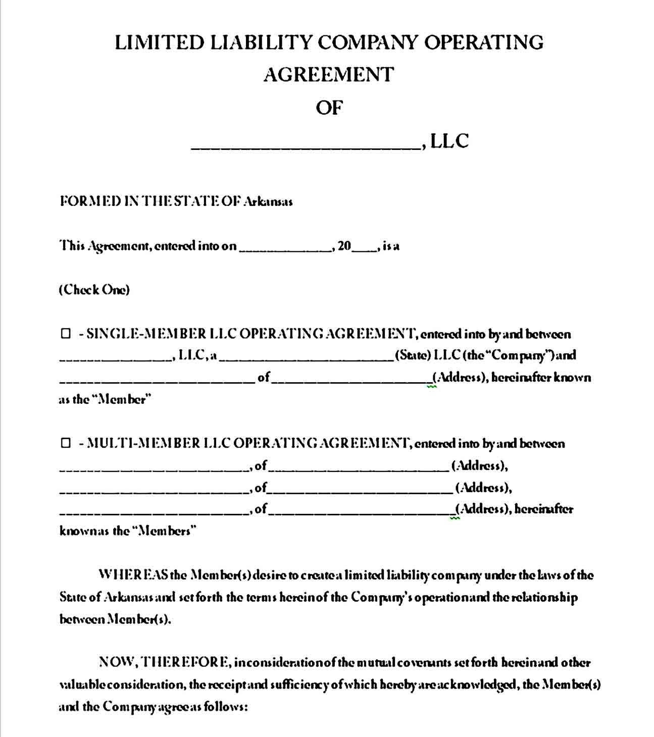 Operating Agreement Templates Sample