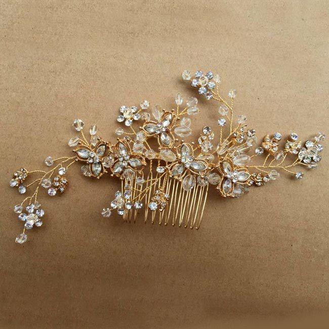 Women Wedding Decorations Jewelry Vintage Bridal Hair Flower Pearl Crystal