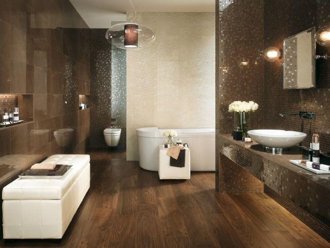 luxus bad design beige braun mosaik fliesen spiegel effekte  Badezimmer  Bathroom Tiles und