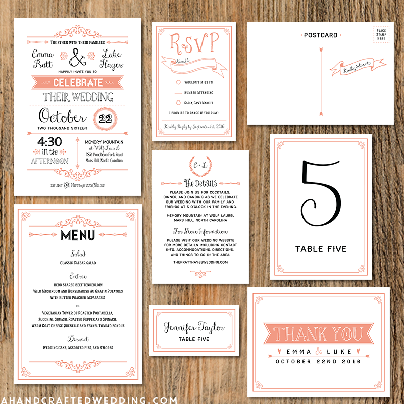 And Customize This Rustic C Diy Wedding Invitation Set Print As Many Copies