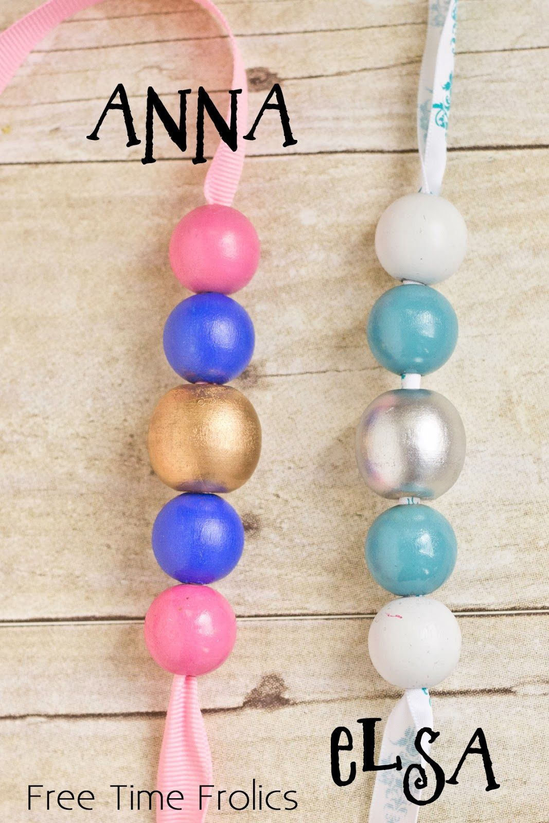 DIY Disney Princess necklaces, cute painted wood beads.