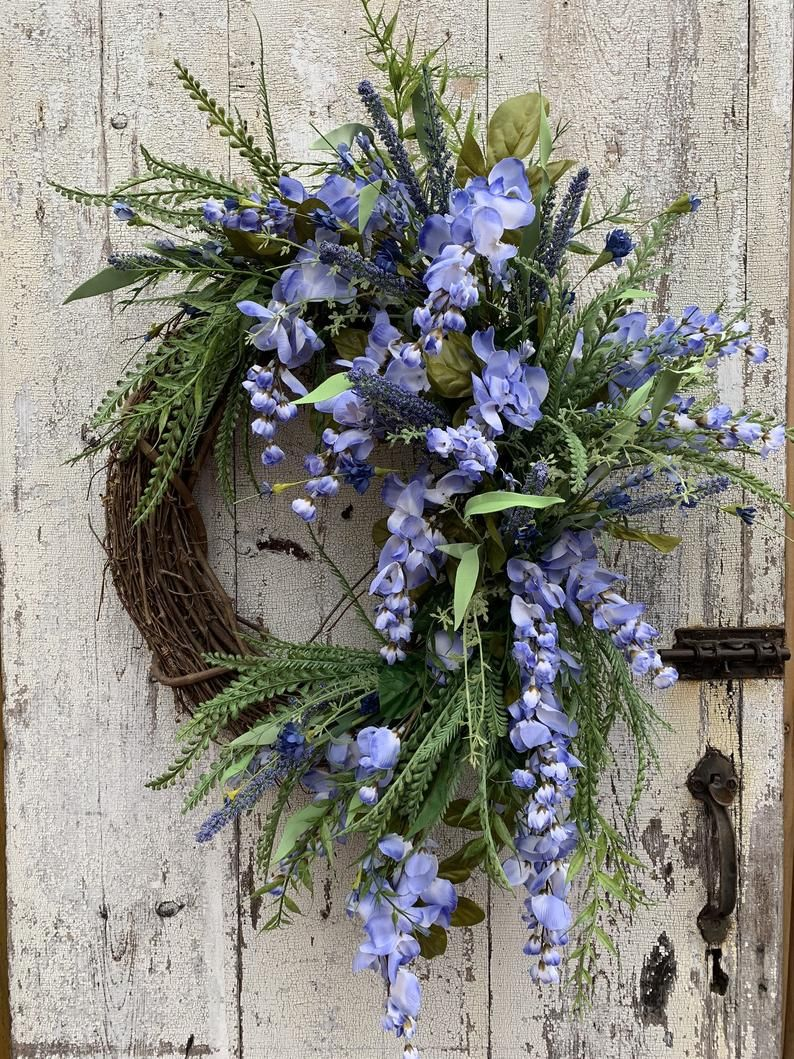 Photo of Summer wreath for front door, Spring decor, Summer decor, Wildflower wreaths, Wisteria wreaths for front door, Double door wreaths
