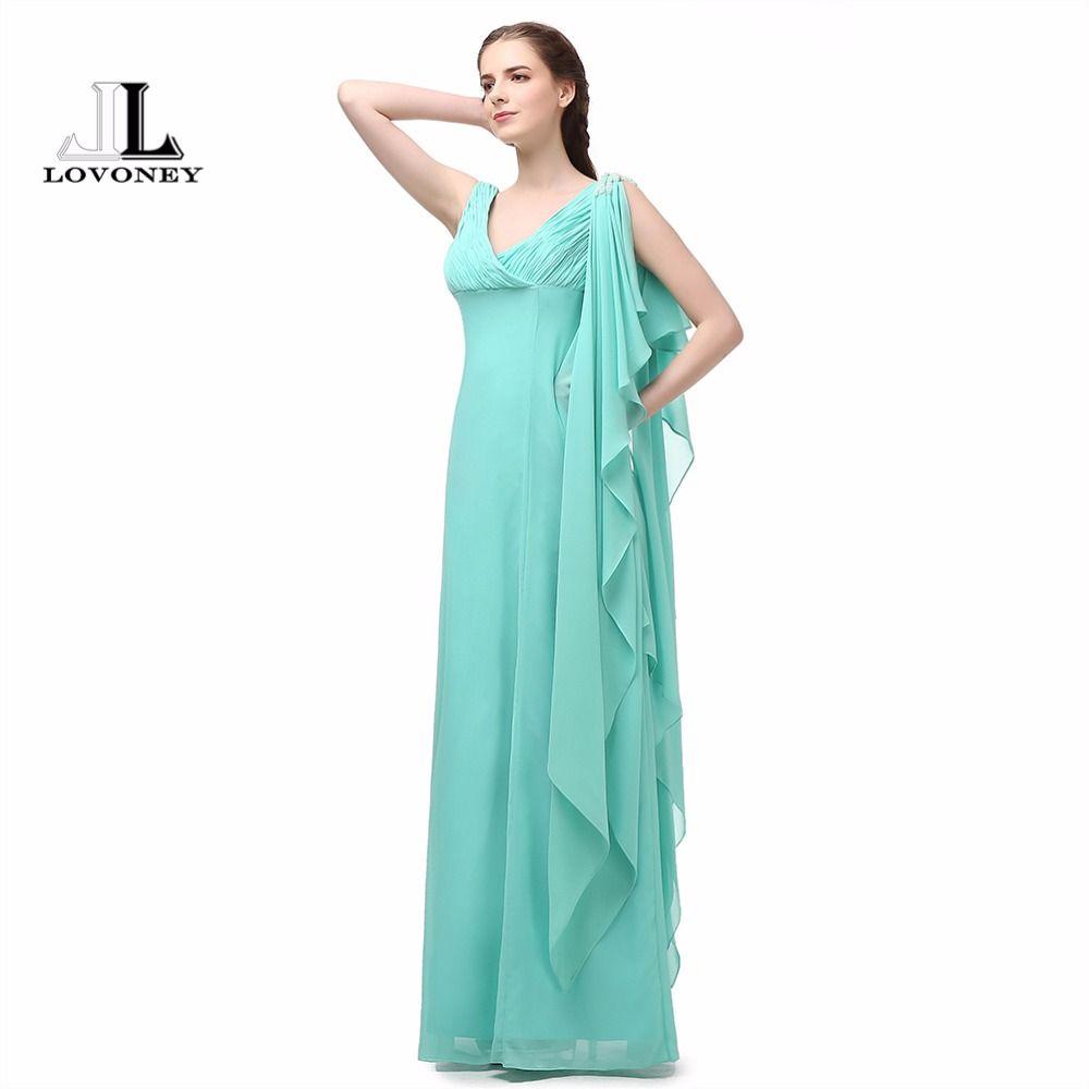 LOVONEY A-Line V-Neck Adult Mint Green Long Bridesmaid Dresses 2017 ...
