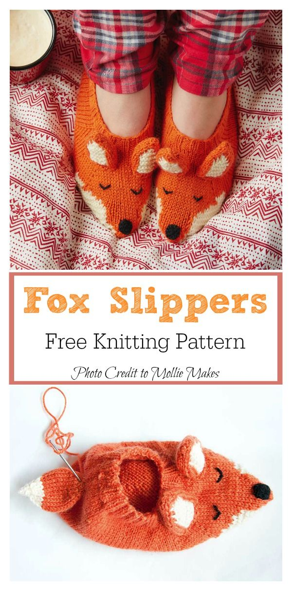 Fox Slippers Free Knitting Pattern Knit It Pinterest Fox
