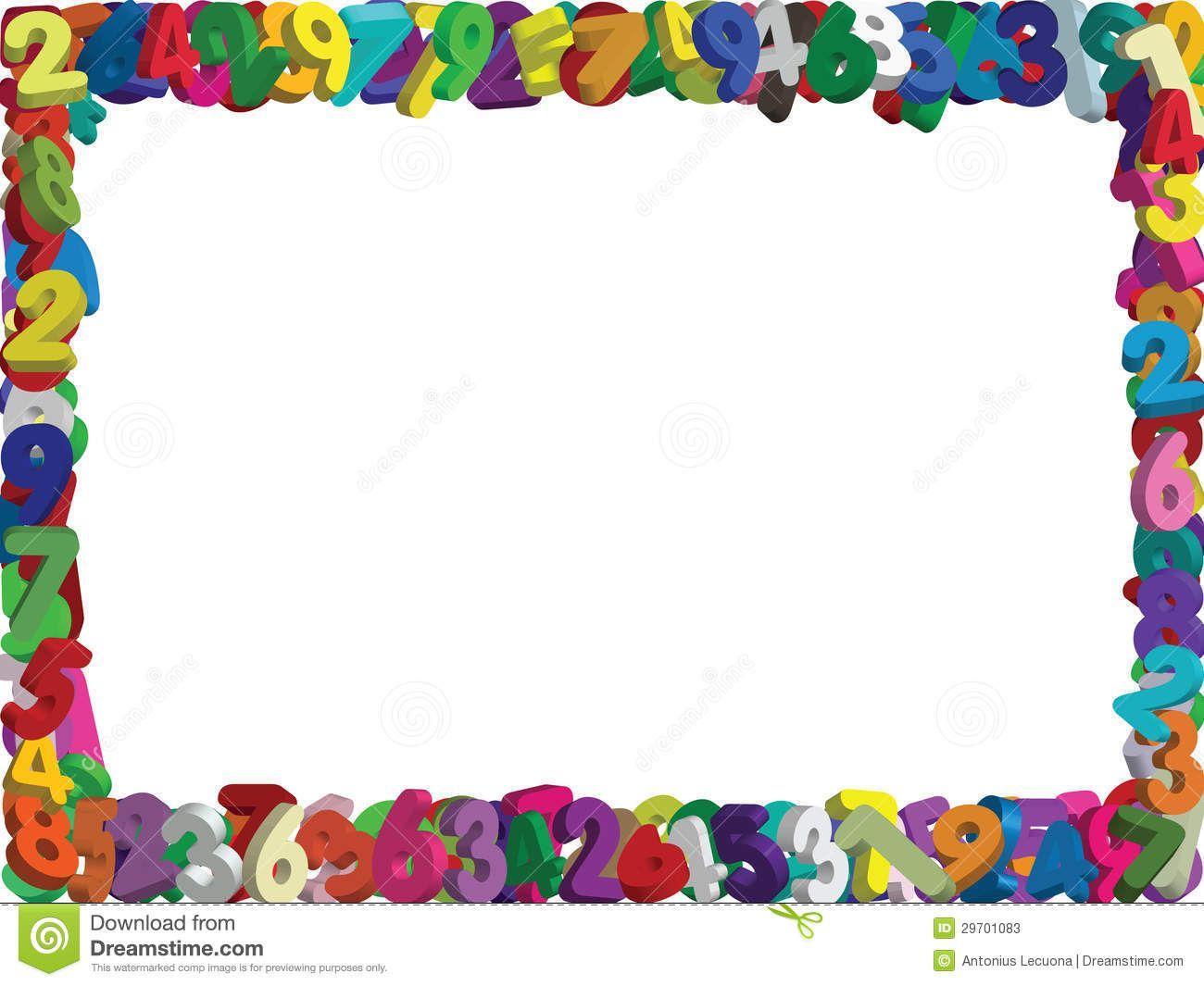 Math Clip Art Borders 3d Numbers Border Vector   Clipart ...