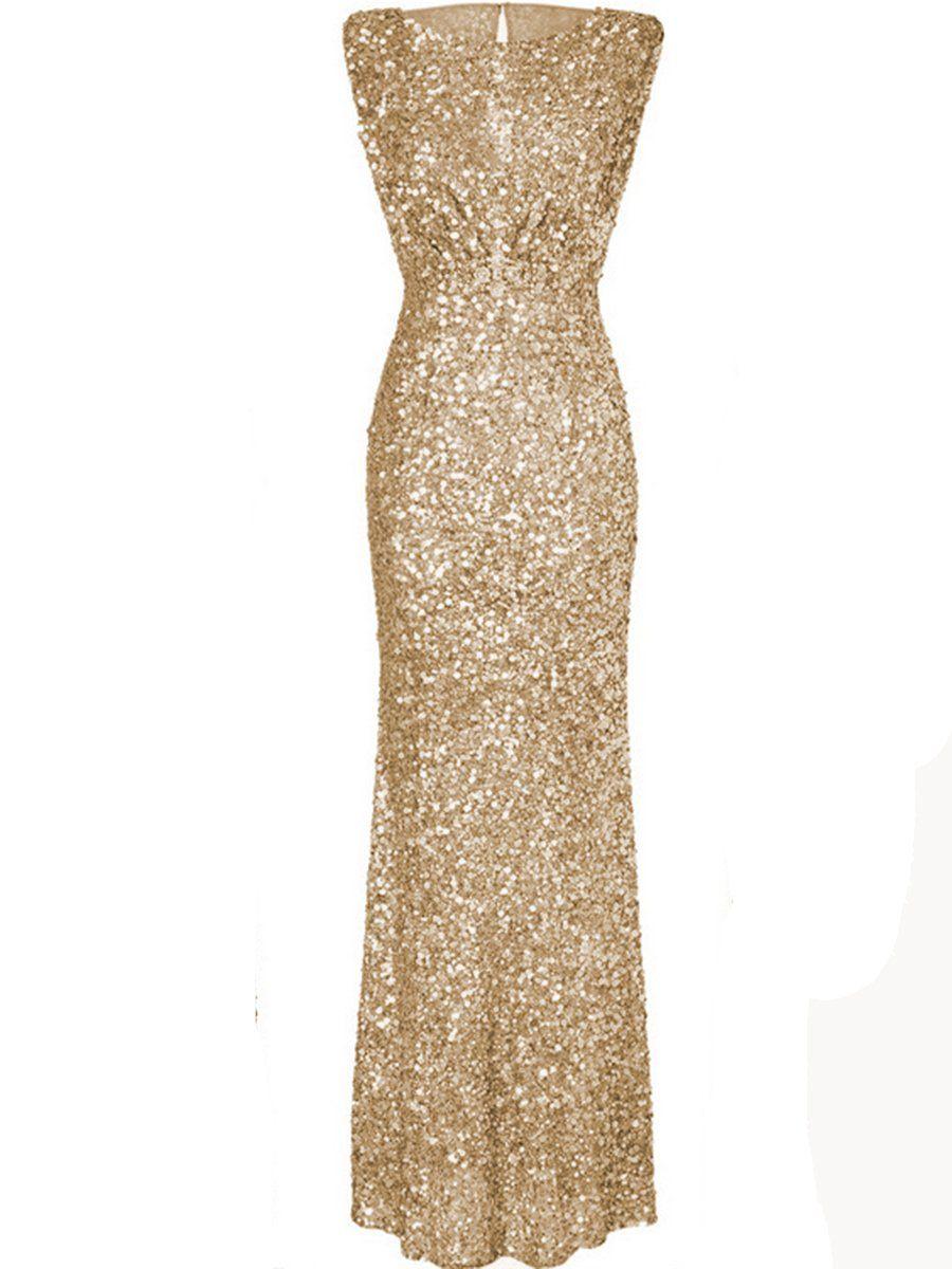 Sparkling plain sequin round neck evening dress aniversario