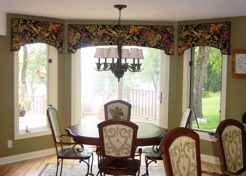 kitchen bay window treatments swag curtains door cornice