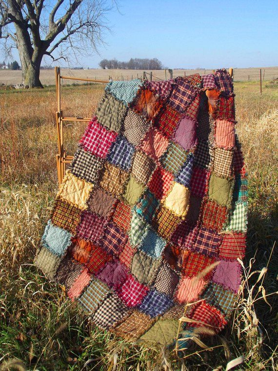 Patchwork Throw Rag Quilt Made to Order Handmade Rustic