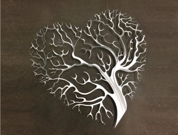 Tree Heart Metal Wall Art - Tree Metal Wall Art - Abstract Wall ...