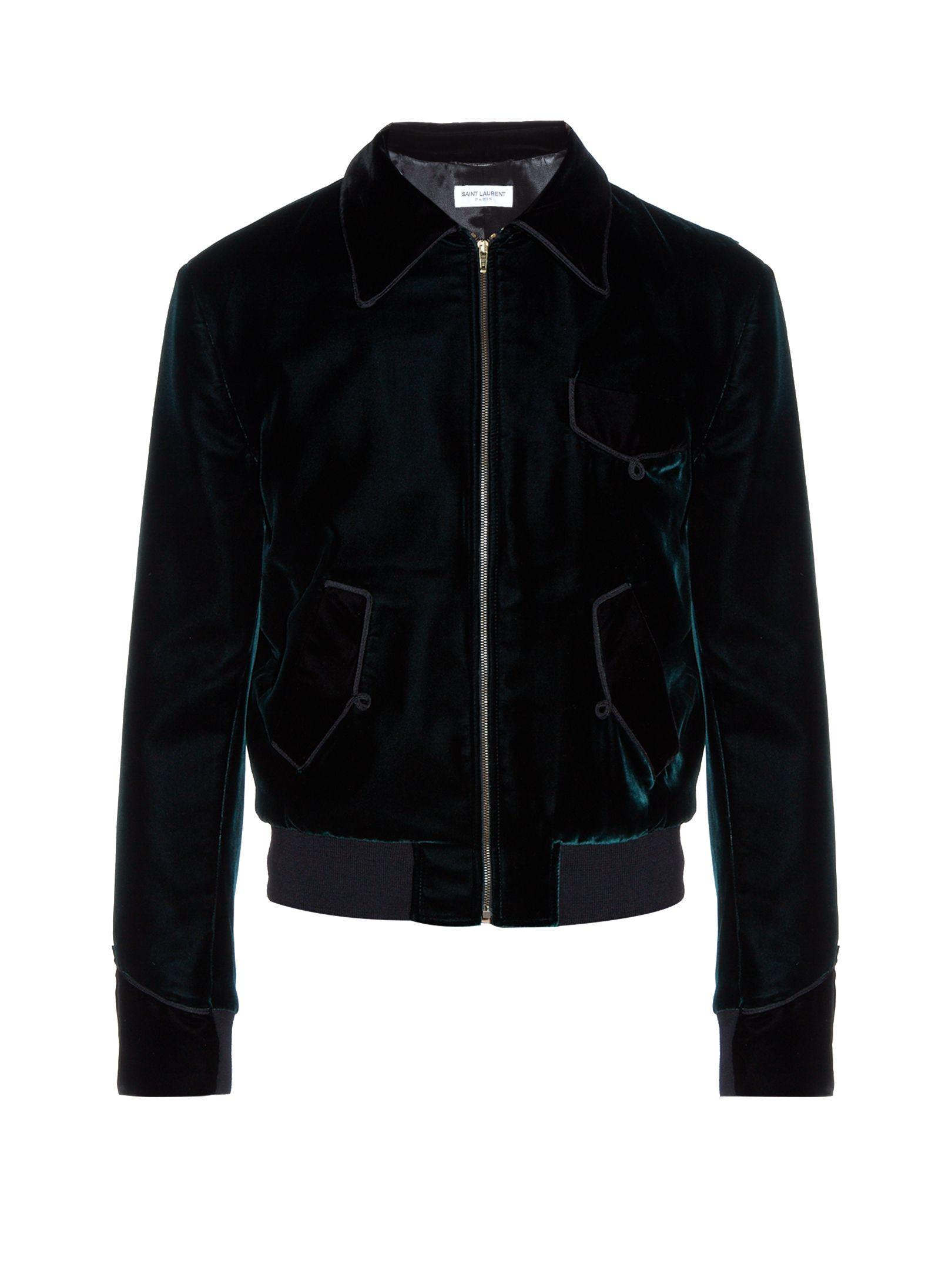 Point-collar velvet bomber jacket | Saint Laurent | MATCHESFASHION.COM UK