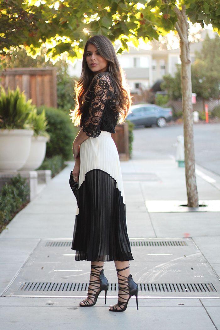 6978c85732 Zara guipure lace t-shirt, banana republic pleated colorblock skirt,  shoemint marcelle, michael kors dylan sunglasses, prada clutch, pam  hetlinger, fashion ...