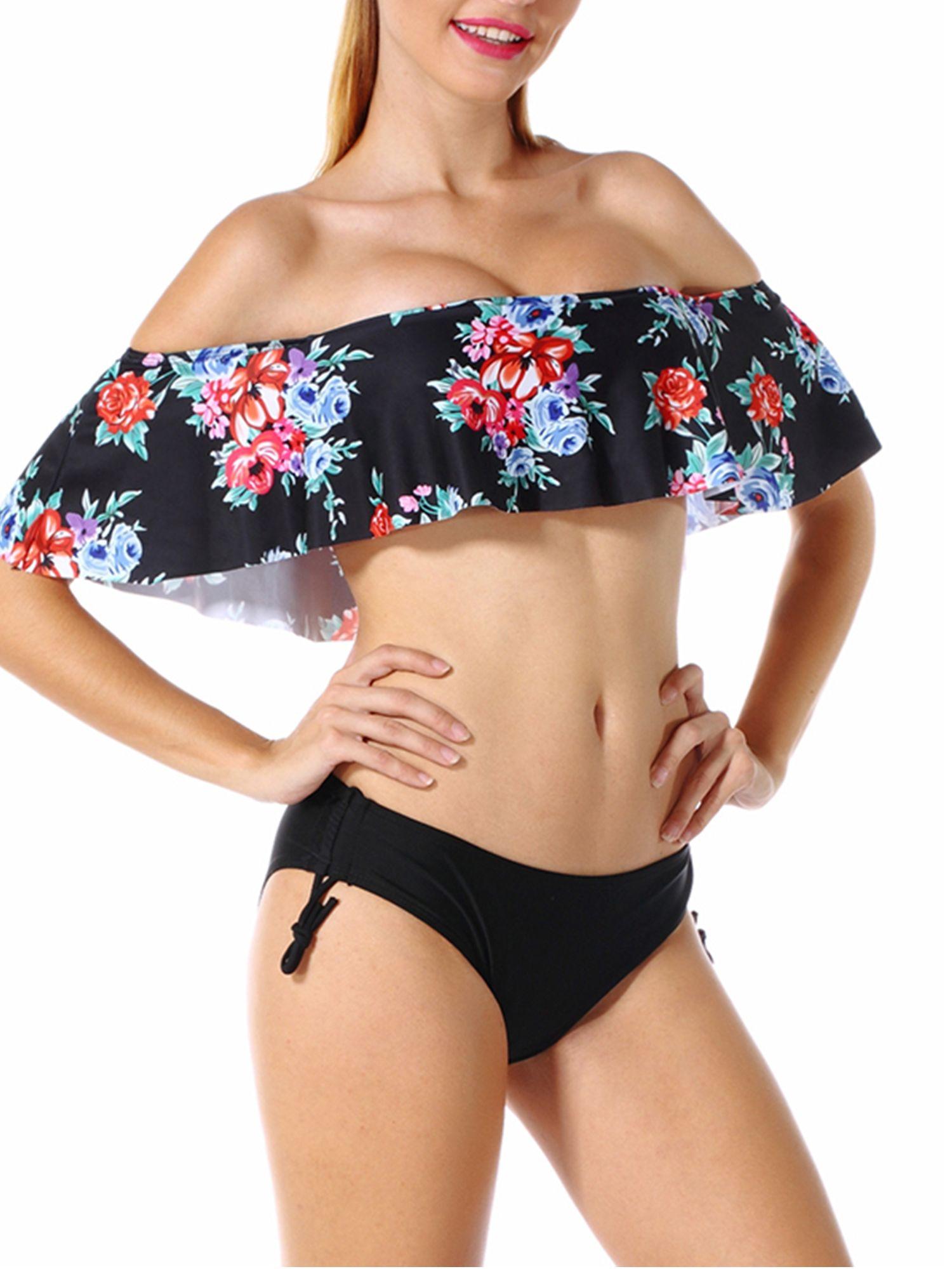 12cdbb83a435a SAYFUT Women Off-Shoulder Ruffle Bikini Set Two-piece Padded Swimsuit  Swimwear Bathing Suit Black White S-XL Bikini
