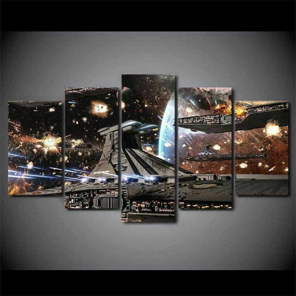 Star Destroyer Star Wars Battle Five Piece Framed Canvas Multi Panel Home Decor Star Wars Wall Art Customized Canvas Art Canvas Art Wall Decor
