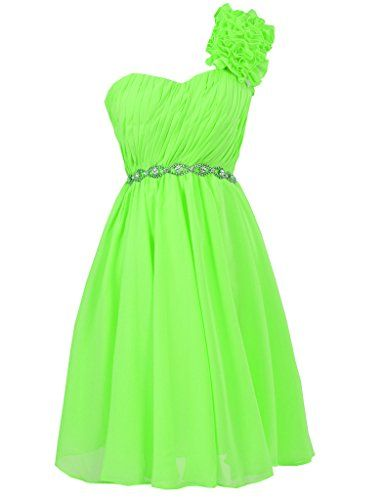 Jaeden One Shoulder Chiffon Short Bridesmaid Dresses Prom Homecoming Dress Lime Green Us10 Http