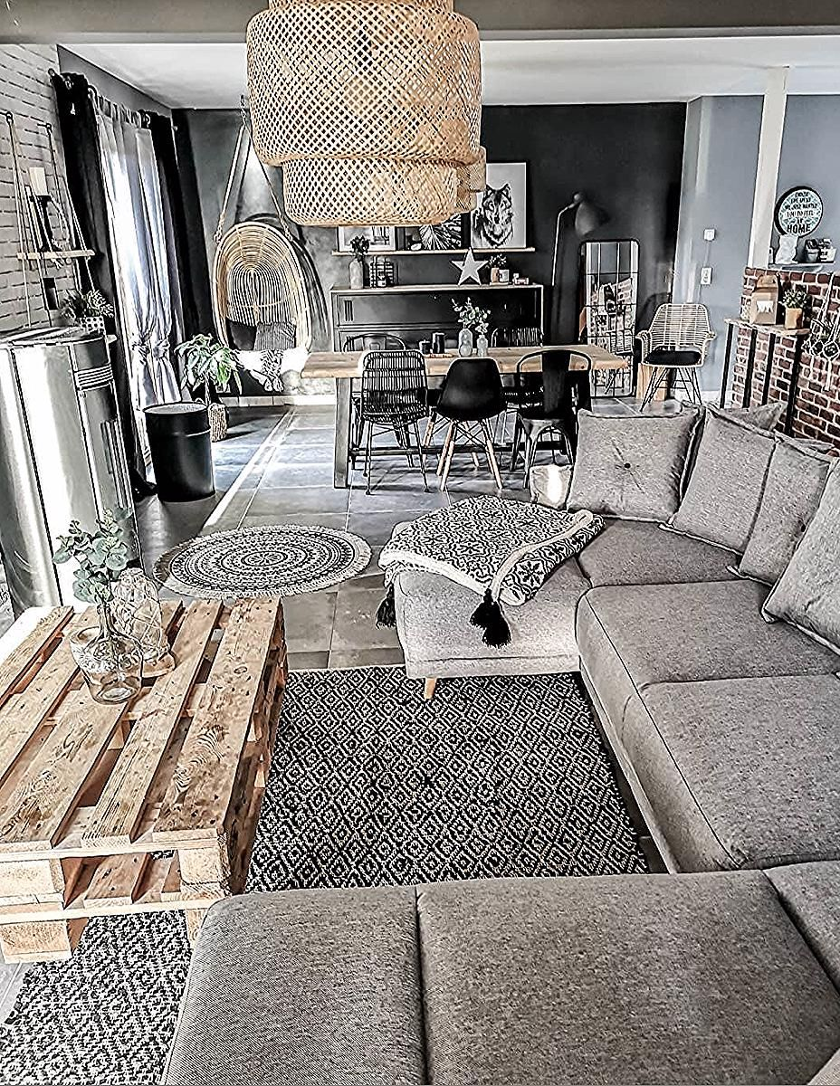 Industriel Table Basse Palette salon boho bohème chic noir et blanc rotin table basse