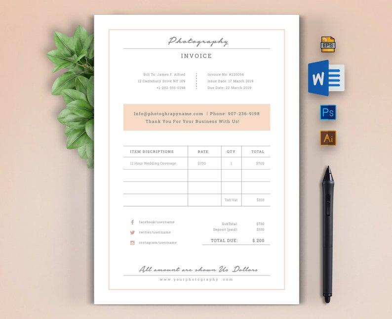 Materials Photoshop Illustrator Adobe Photoshop Adobe Illustrator Layered User Friendly Customiza Invoice Design Template Invoice Design Invoice Template