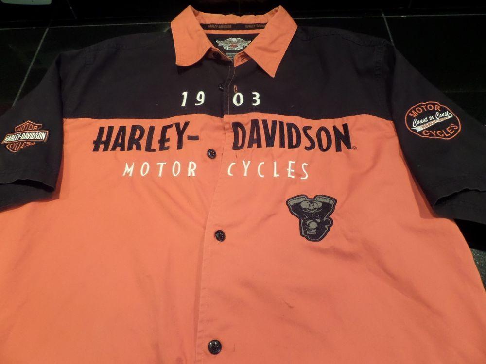 99 Centsstarting Bid Harley Davidson Black Orange Patches