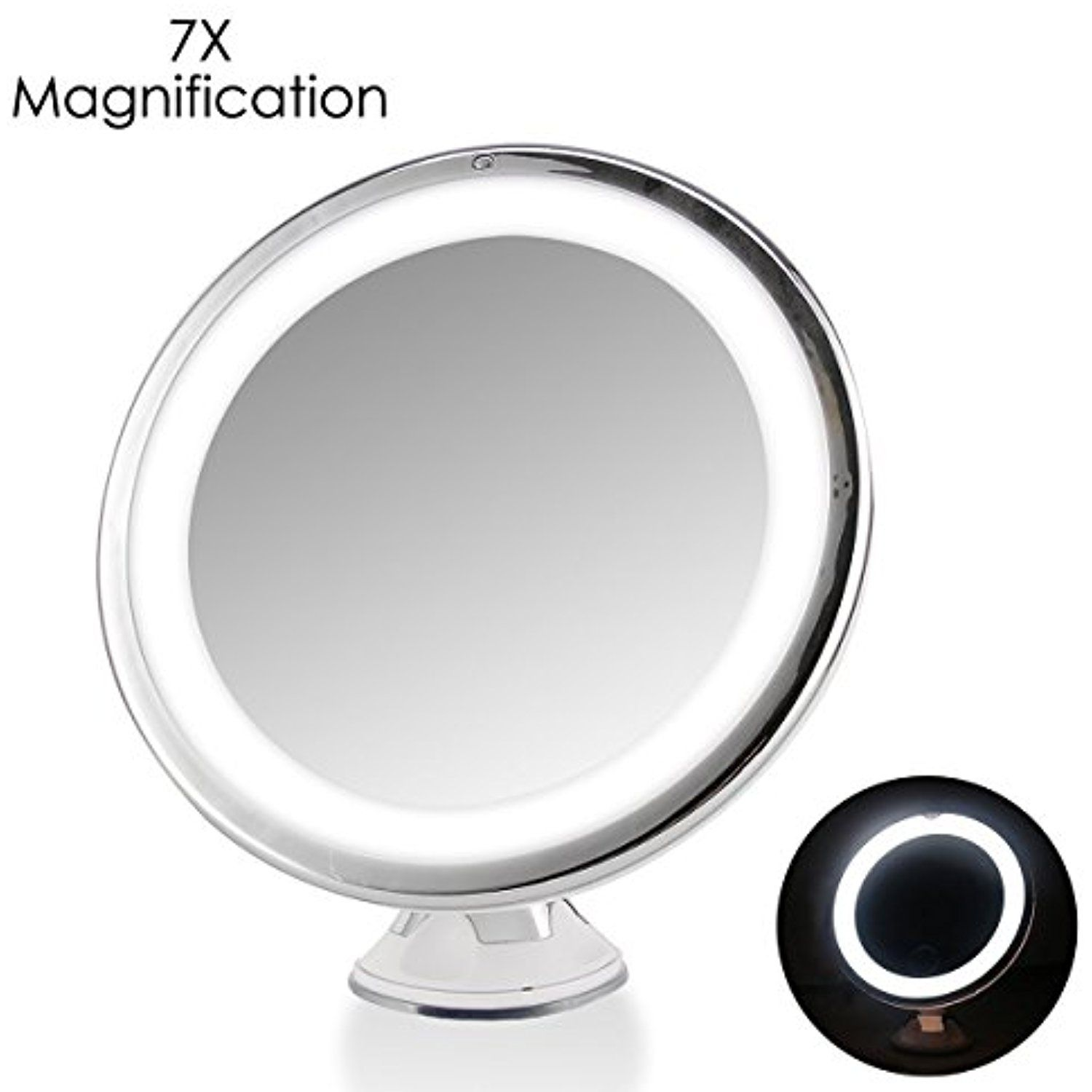 lighted makeup spot trifold mirror with auxmir pin magnifying led screen vanity touch