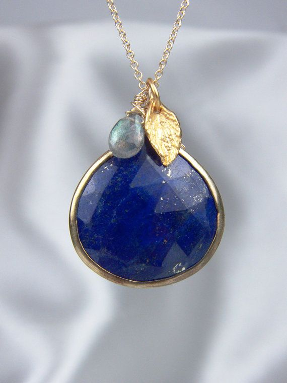 Lapis NecklaceBezel Set Gold by AlisonStorryJewelry on Etsy, $62.00