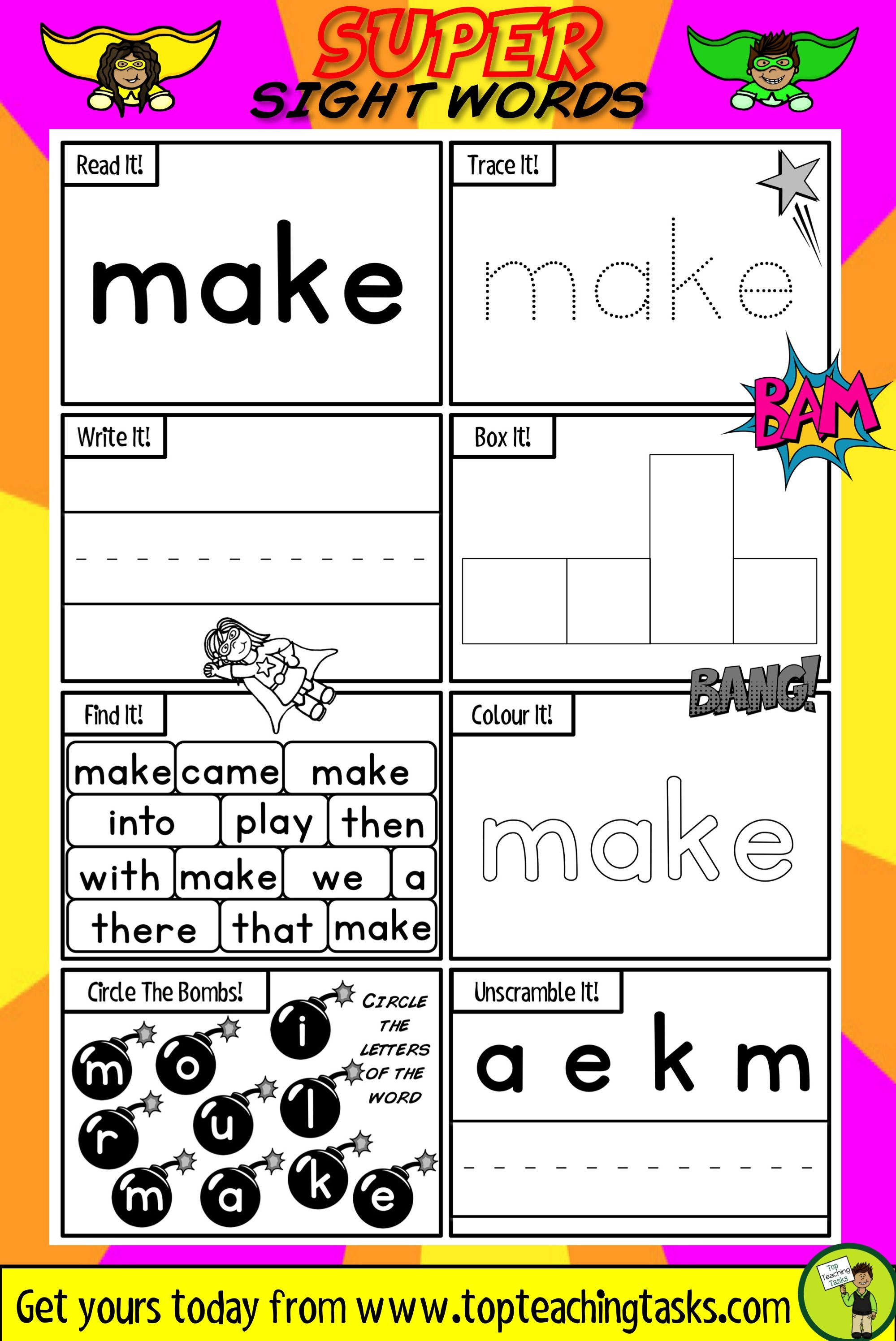 Worksheets Superhero Teacher Worksheets sight words activity sheets color wheels activities and primary classroom