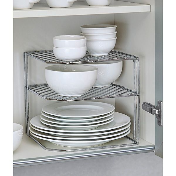 the container store double chrome corner shelf kitchen cabinet storage corner shelves home organization double chrome corner shelf