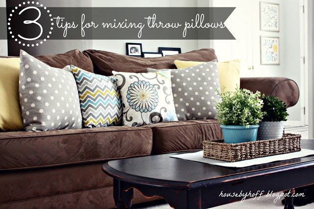 tips for mixing throw pillows house by hoff mixing throw pillows rh pinterest com brown sofa with red cushions brown sofa with green cushions