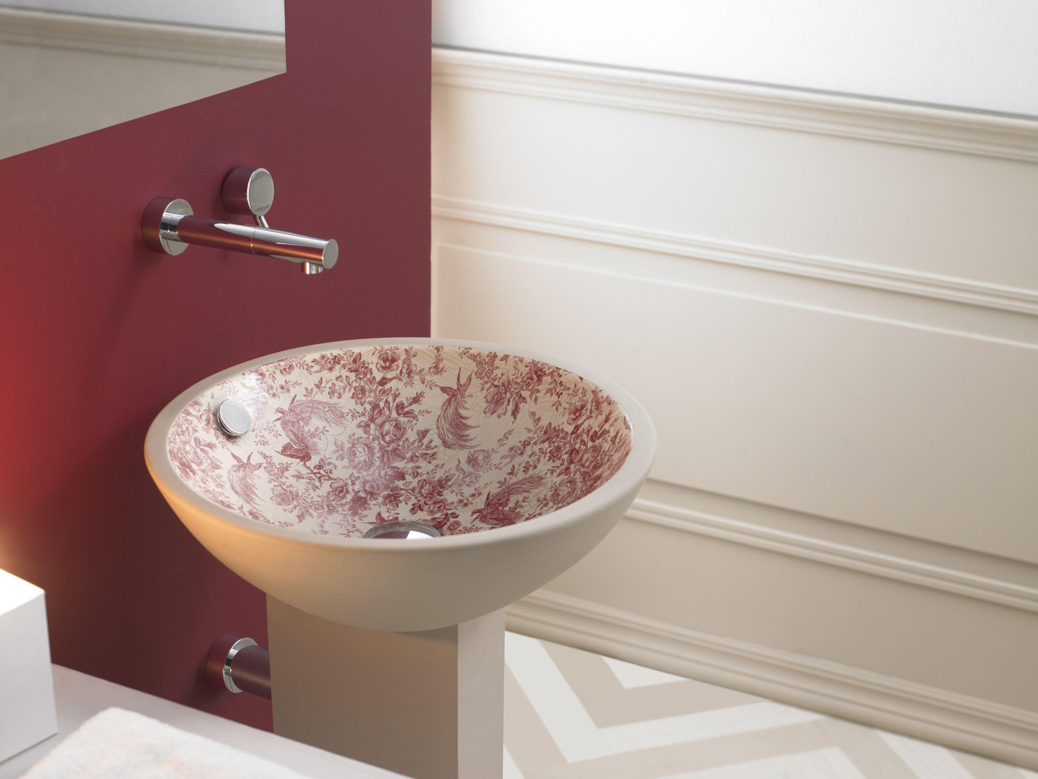 lavabo vintage acabado natural decorado toile de jouy rojo