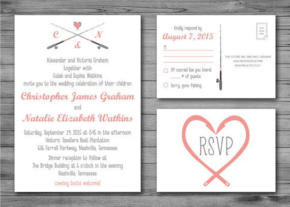 Gone Fishing Wedding Invitation And Rsvp Postcard By Twineandtrue