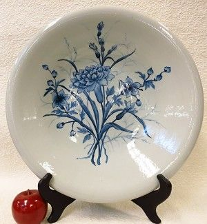 """Carnation Blue and White Porcelain Plate 16"""""""