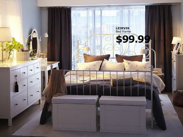 Ikea Bedroom Catalog Design White Metal Bed Interior
